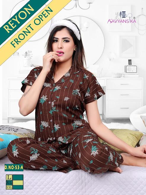 Rayon Collar Night Suit Vol 53 Kavyansika Ladies Night Suits Manufacturer Wholesaler