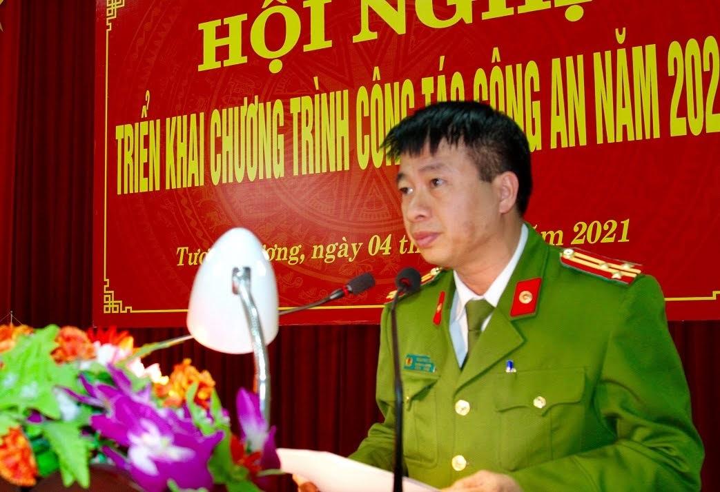 Đồng chí Thượng tá Trần Phúc Tú, Trưởng Công an huyện phát biểu khai mạc Hội nghị.