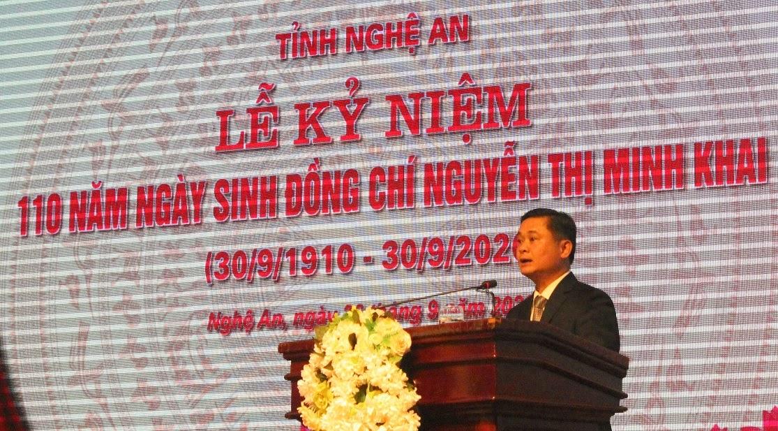 Đồng chí Thái Thanh Quý, Ủy viên Dự khuyết Trung ương Đảng, Bí thư Tỉnh ủy đọc diễn văn tại lễ kỷ niệm.