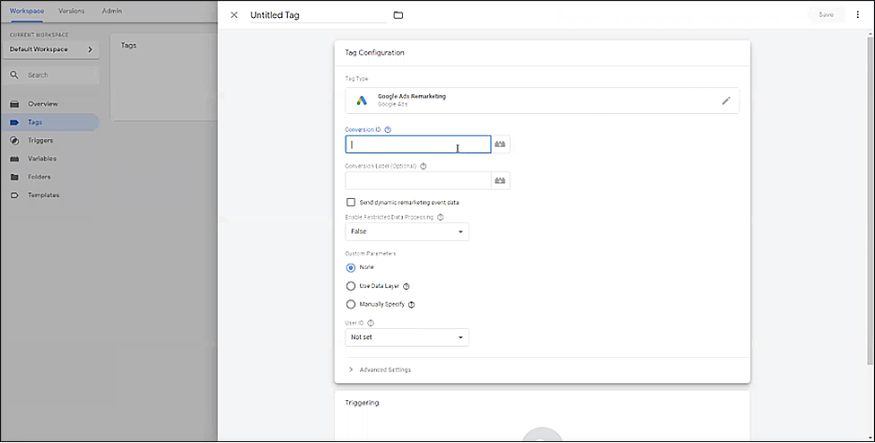 Setting up Google Tags Manager