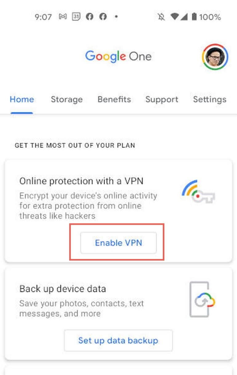 Tap Enable VPN button to Enable VPN by Google One