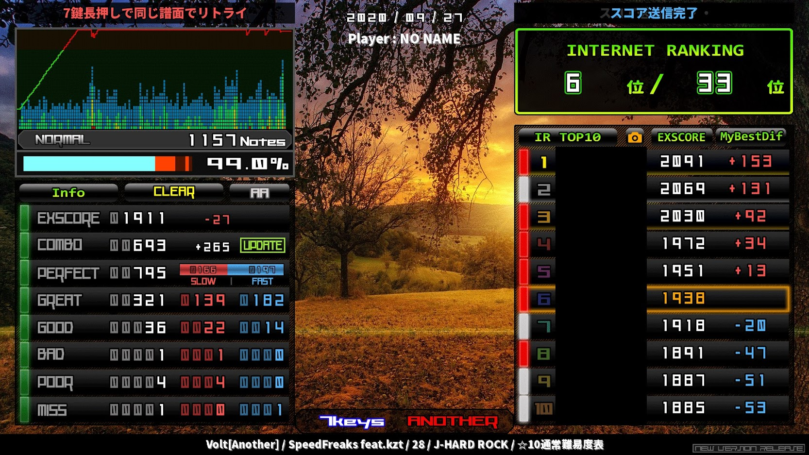 【beatoraja】FullHDスキン・ModernChicResult