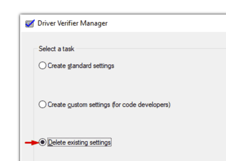 Delete Driver Verifier Manager Existing Settings