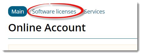 online account tabs with software licenses highlighted