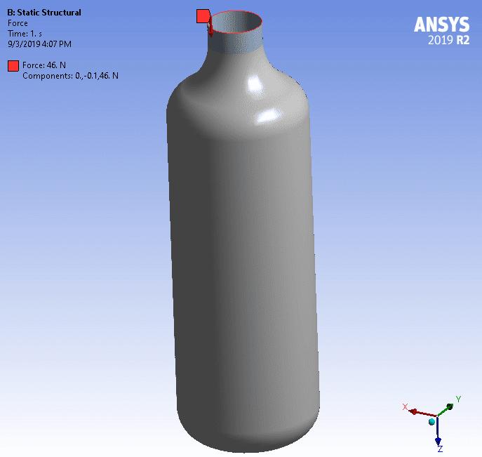 модель пластиковой бутылки под воздействием точечной нагрузки, приложенной к её верху и стремящейся раздавить эту бутылку