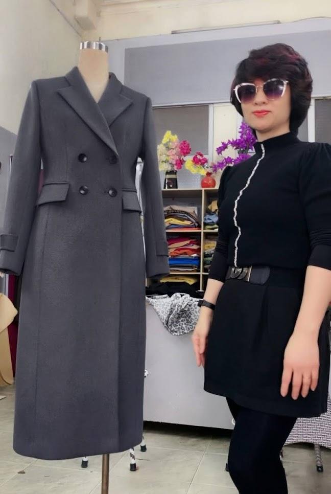 Áo khoác măng tô nữ vải dạ màu ghi xám V750 thời trang thủy quảng ninh