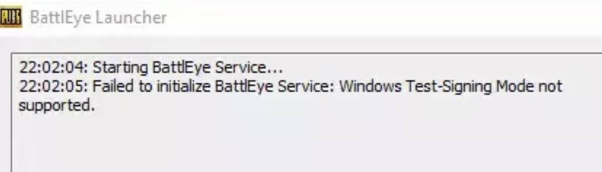 Fix for Failed to initialize BattlEye Service: Windows Test-Signing Mode not supported error