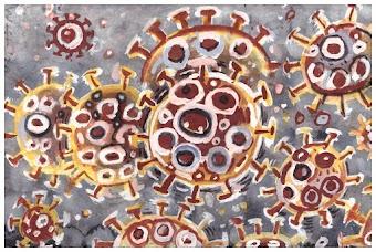 Corona-Virus, künstlerisch gestaltet.
