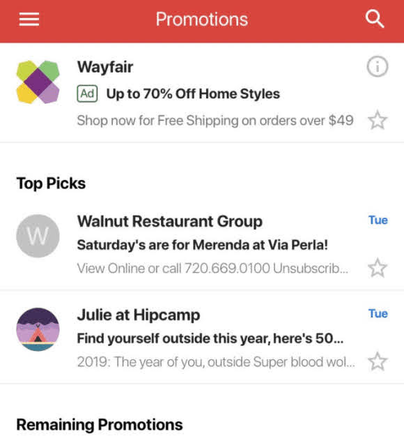 Bundled Messages in Gmail Promotions!