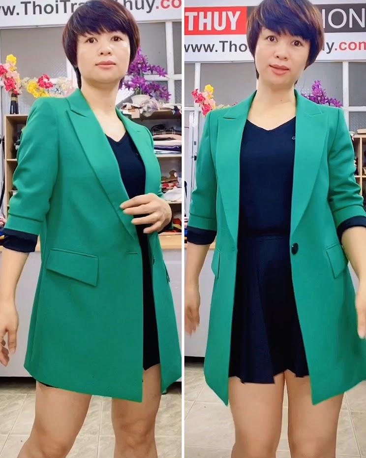 Áo vest nữ dáng dài suông màu xanh lá cây Thời Trang Thủy ở Hải Phòng