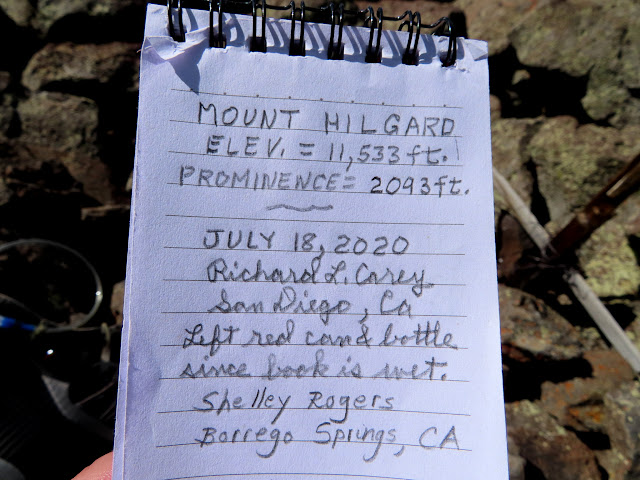 New summit register left the day before by some California hippies