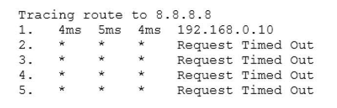 The technician then runs the tracert 8.8.8.8 command and gets the following: