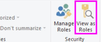View as roles button on the modeling tab