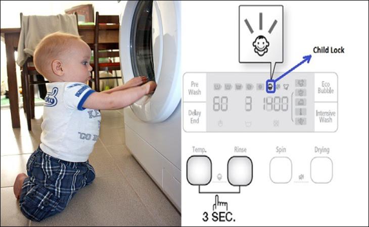 Chế độ khoá trẻ em máy giặt Electrolux