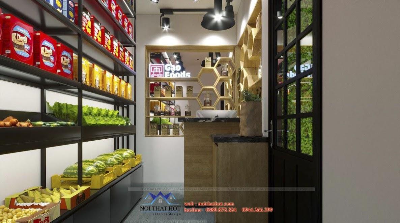 thiết kế cửa hàng gạo và thực phẩm