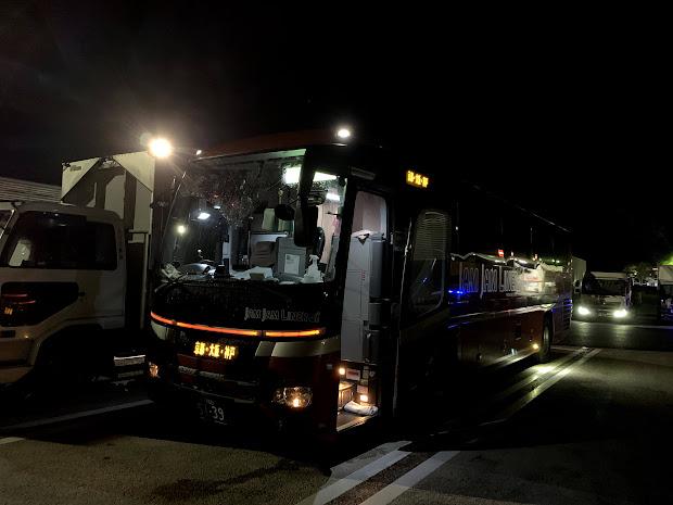 安達太良サービスエリア停車中のJX361便