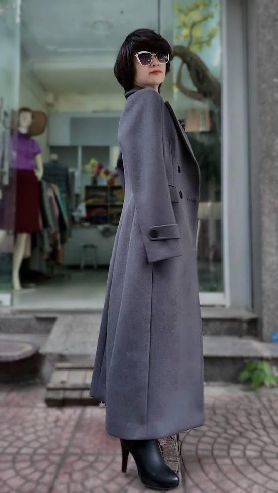 Áo khoác măng tô nữ vải dạ màu ghi xám V750 thời trang thủy hà nội 4