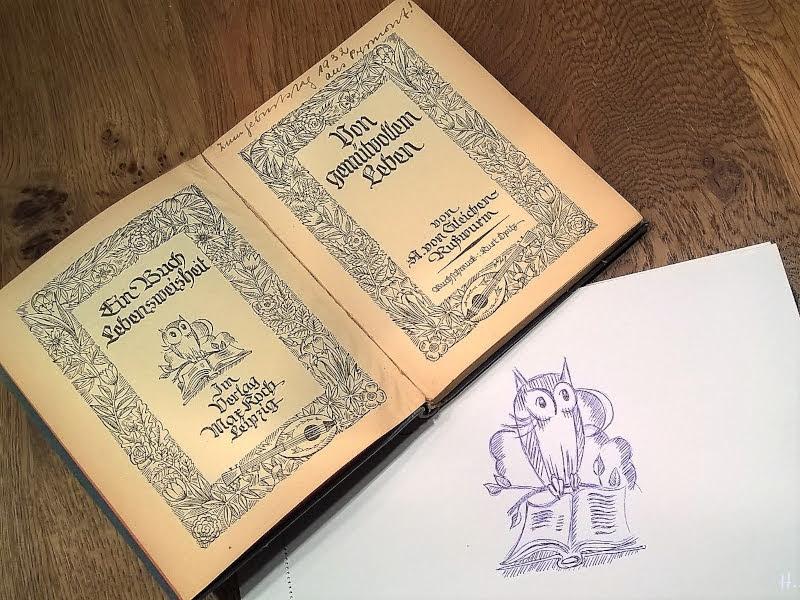 2019-01-28 Eule mit Buch (Original-Illustration von Kurt Opitz, Leipzig 1924 im Buch 'Vom gemütvollen Leben', A. von Gleichen-Rußwurm), Zeichenübung Nr 12