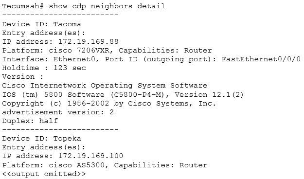 An example of the output of the show cdp neighbors detail command