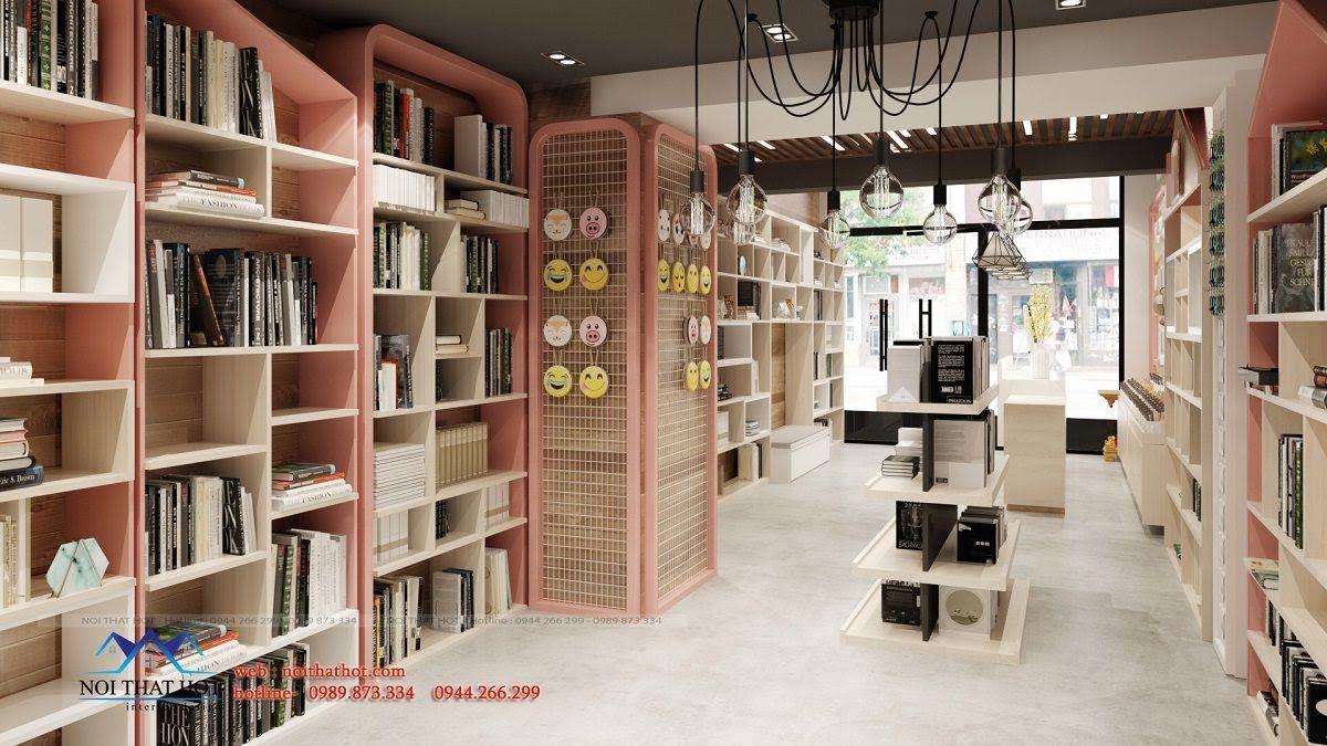 bố trí nội thất cho cửa hàng sách
