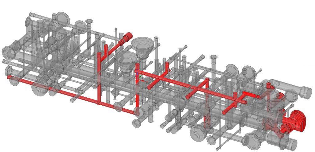 Исходная геометрия каналов гидравлической плиты, красным подсвечены каналы для оптимизации, имеющие заглушки в торцах и множество нефункциональных смен направления потока