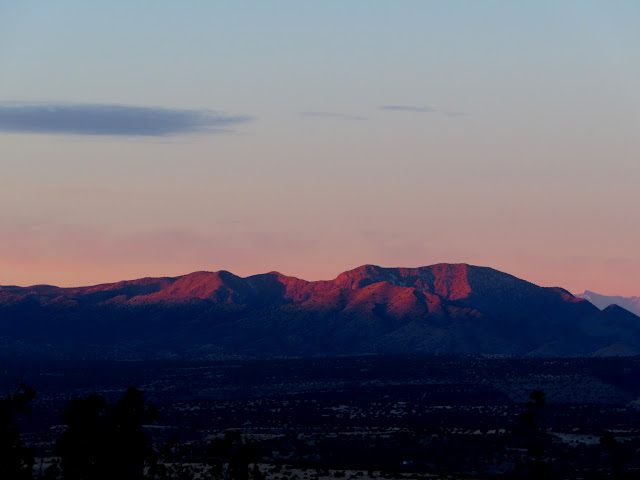 Pink light on Los Pinos Mountains