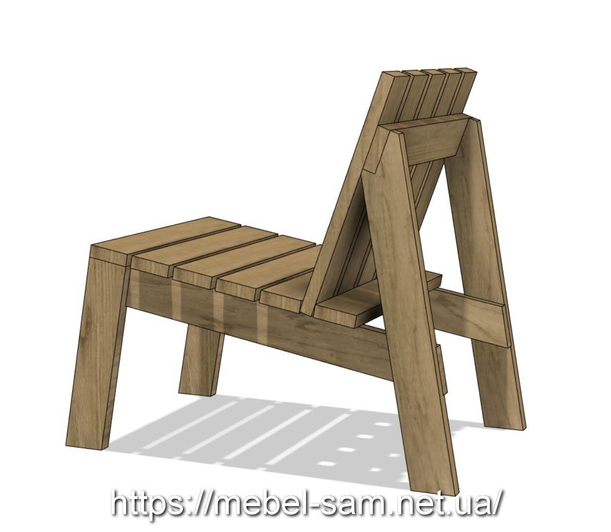 кресло из доски - общий вид сбоку
