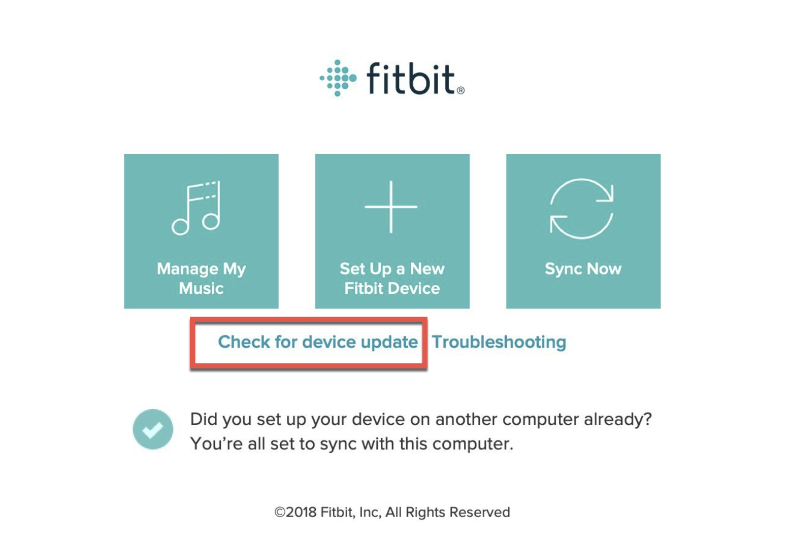 Check for Device Update button in the Fitbit app.