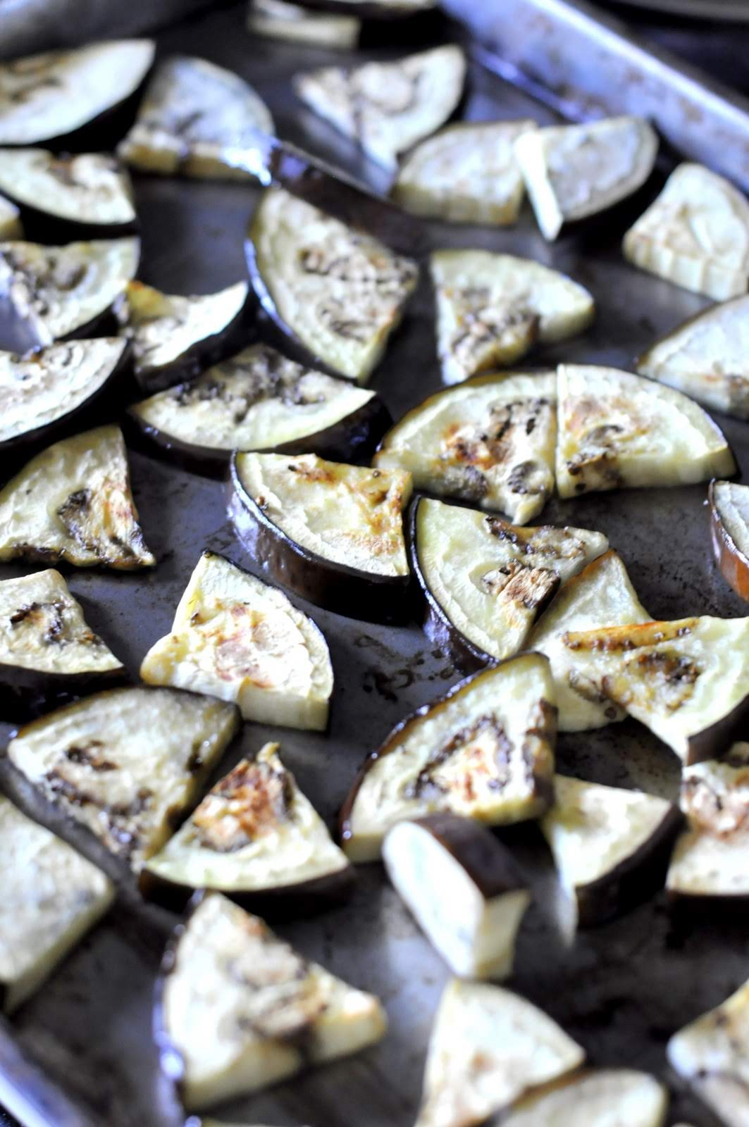 Cutting the eggplant slices into wedges will help create nicely browned edges when broiling or roasting.