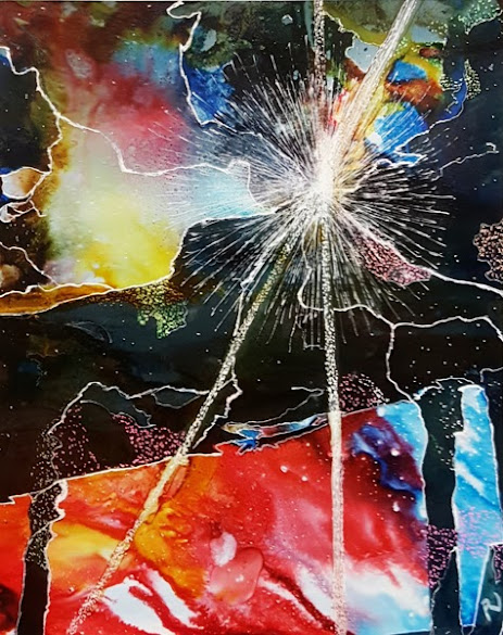 """HONORABLE MENTION """"2020: Cracks in the Universe"""" Alcohol Ink ?by Pat Jackson"""