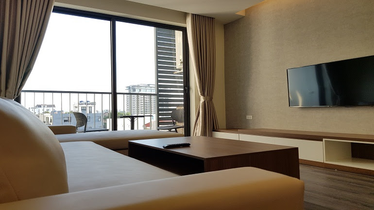 Luxury modern one bedroom apartment with balcony in Tay Ho street, Tay Ho district for rent