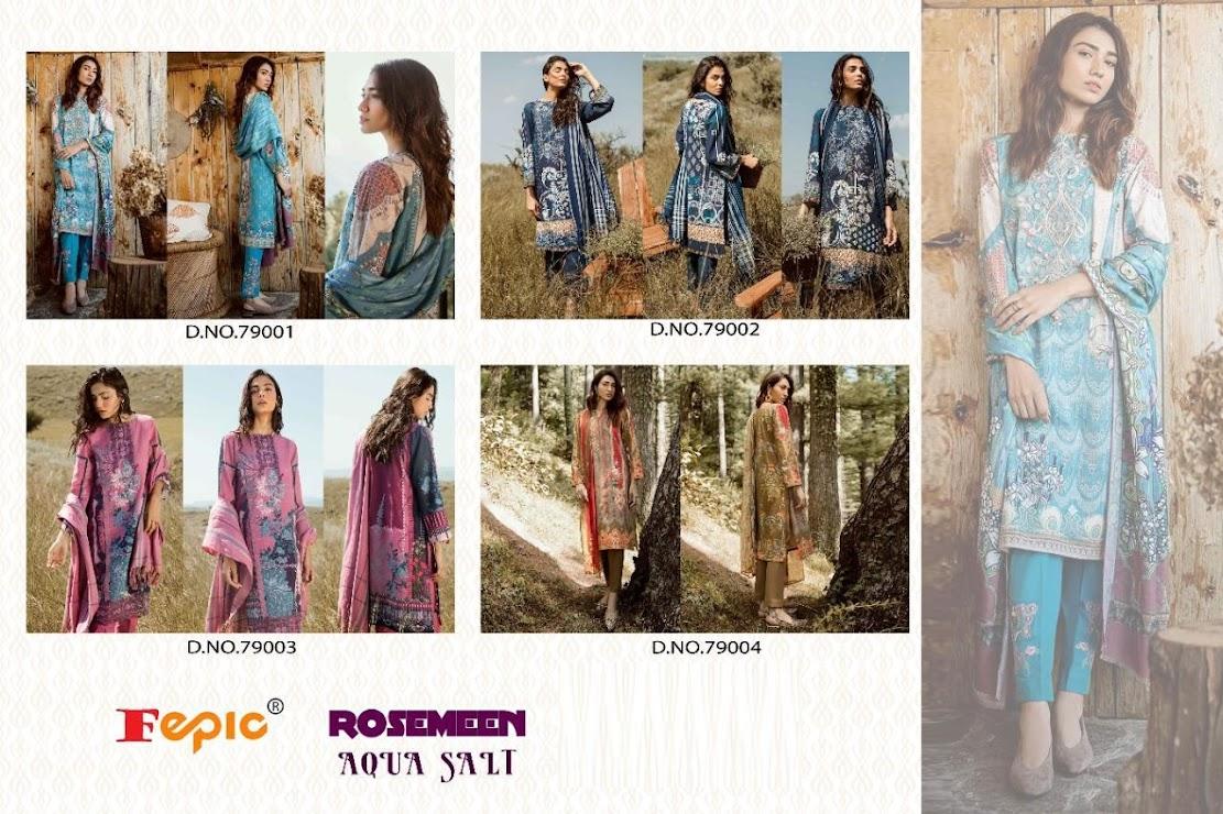 Rosemeen Aqua Salt Fepic Pakistani Dress Material Manufacturer Wholesaler