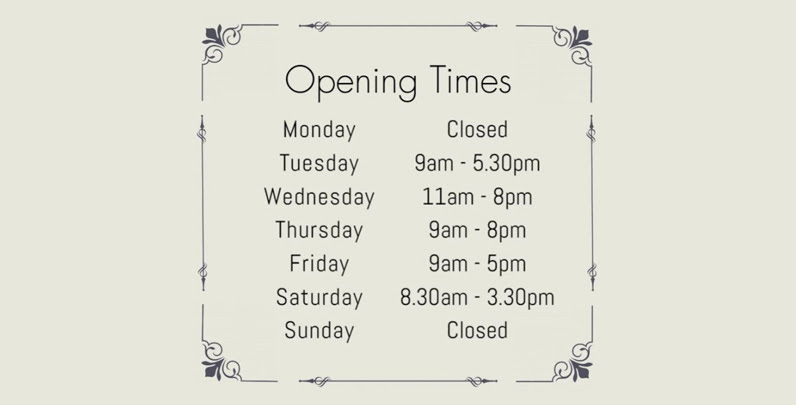 The regular opening times of our salon.