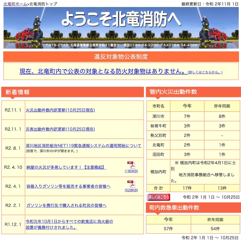 2020年10月分:火災・災害出動件数内訳更新【北竜消防】