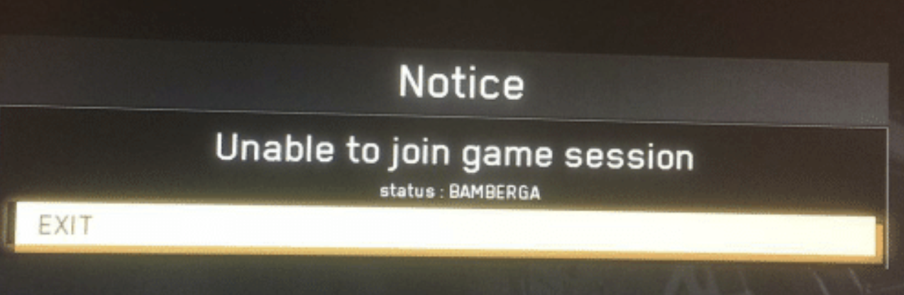 """Unable to join game session"" with BAMBERGA status"