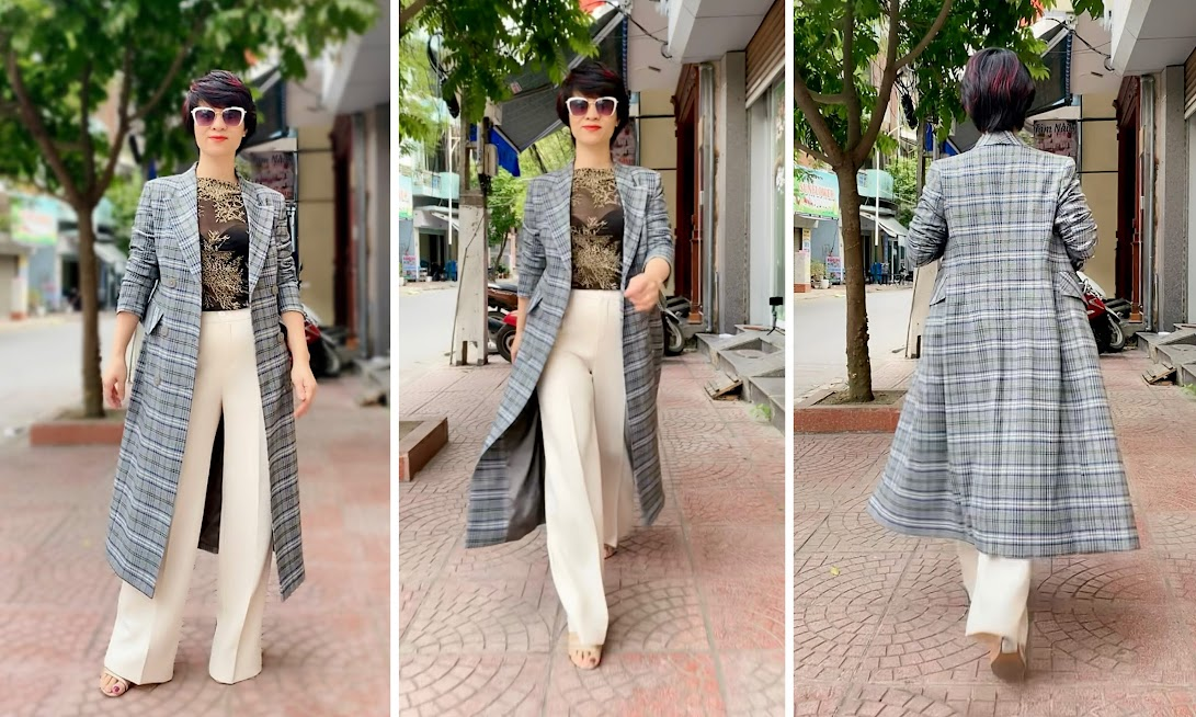 Áo khoác dạ nữ dáng dài kẻ caro mix quần ống suông V742 thời trang thủy hải phòng