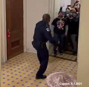 Ein einzelner Polizist versucht, das Eindrigen des rechtsextremistischen Mobs in die Räume des Capitols zu verhindern.