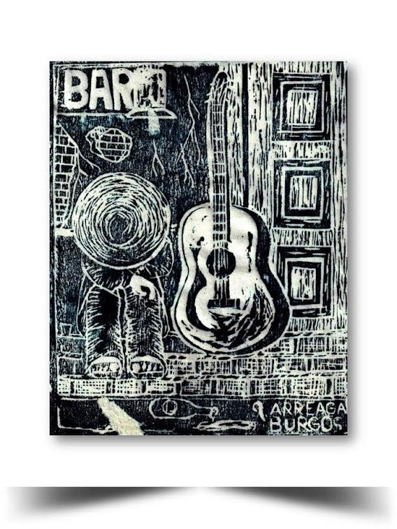 Grabado en Xilografia El Bohemio 1998 Obra del Artista Ecuatoriano Lalinchi Arreaga Burgos E.E.A.B