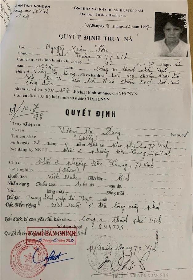 Lệnh truy nã đối tượng Vương Thị Dung