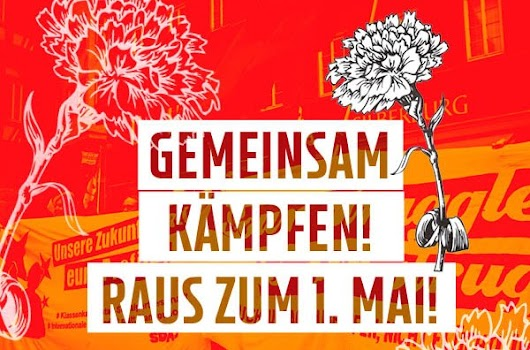 Plakat: «Gemeinsam kämpfen! Raus zum 1. Mai!».