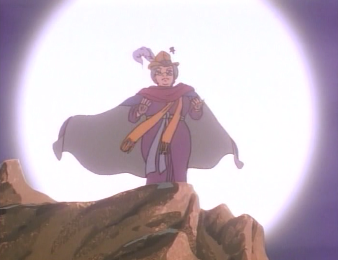 Martha on a cliff in a halo of light