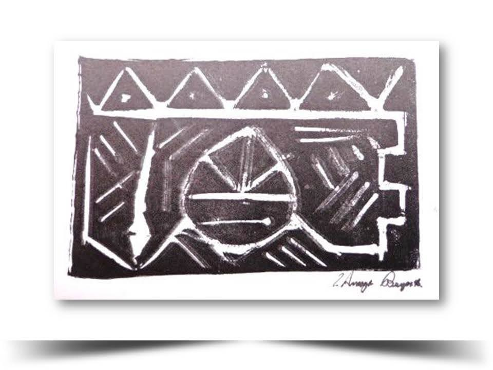 Grabado en Xilografia Precolombino 1998 Obra del Artista Ecuatoriano Lalinchi Arreaga Burgos E.E.A.B