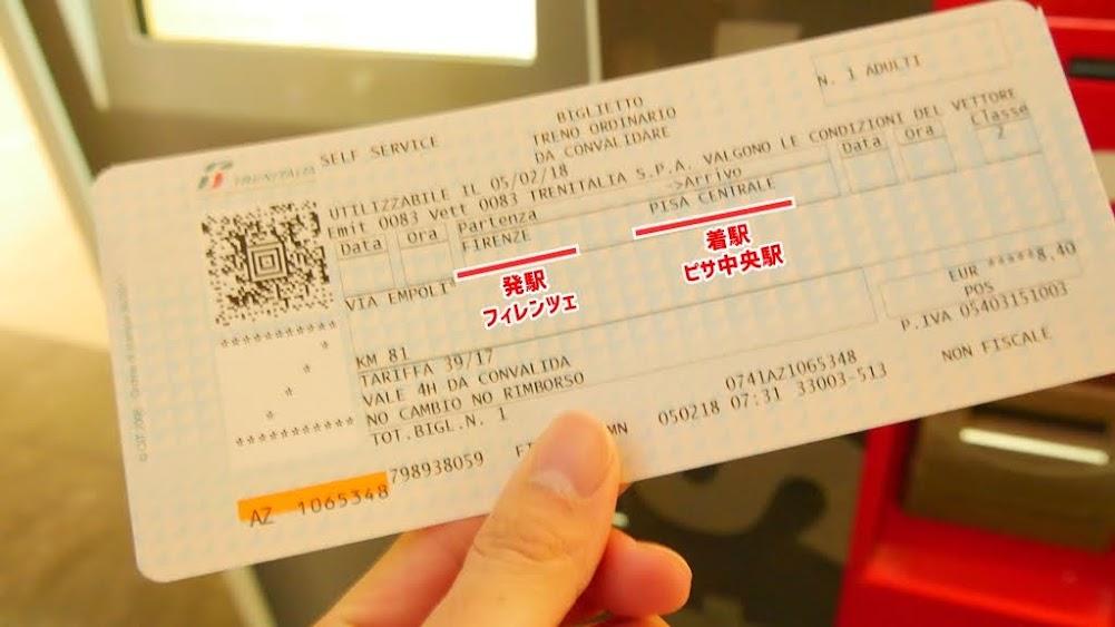 ピサ行きのチケット
