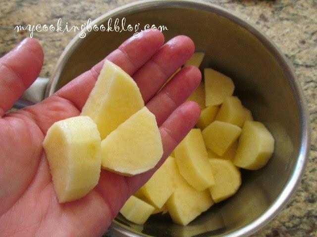нарязване и варене на картофите