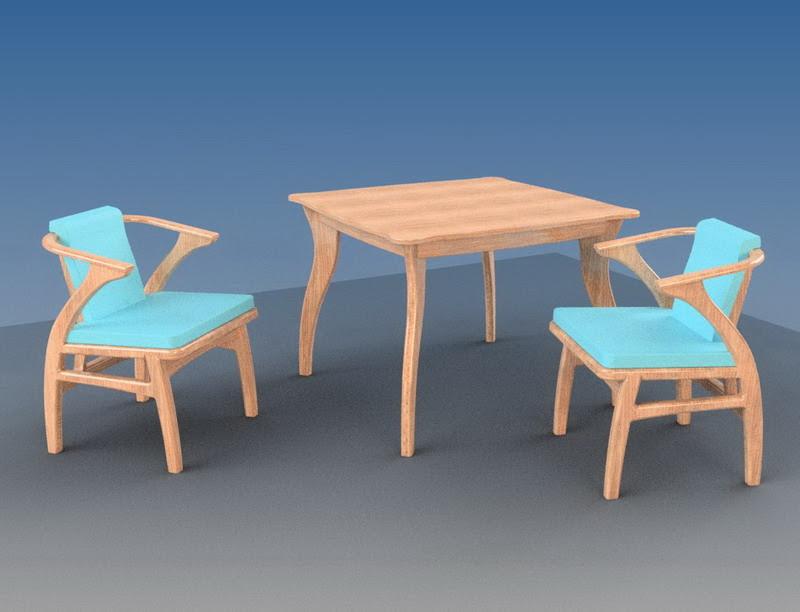 два стула из фанеры и кухонный стол