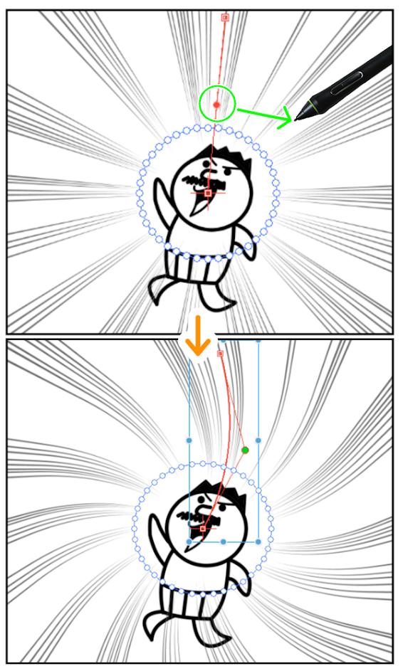 クリスタ:集中線レイヤー(曲線化)