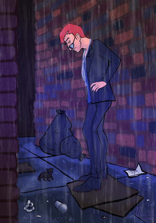 Drawing of Crowley standing in a rainy alleyway, hands on hips, looking down at a small black kitten with yellow eyes.