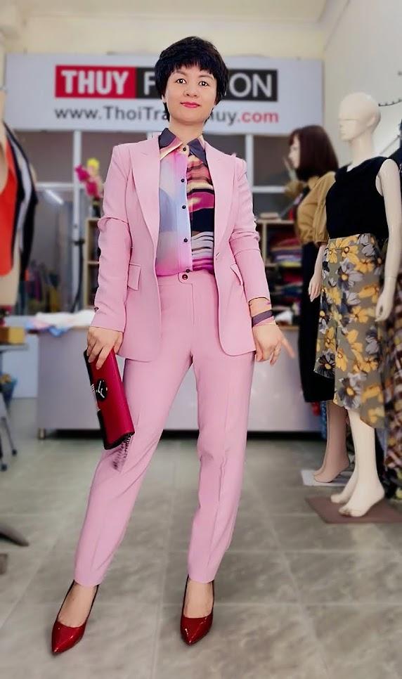 Bộ áo vest nữ mix quần baggy ông côn màu hồng V728 sài gòn