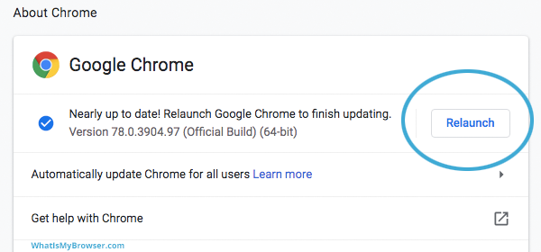Relaunch Google Chrome after update.