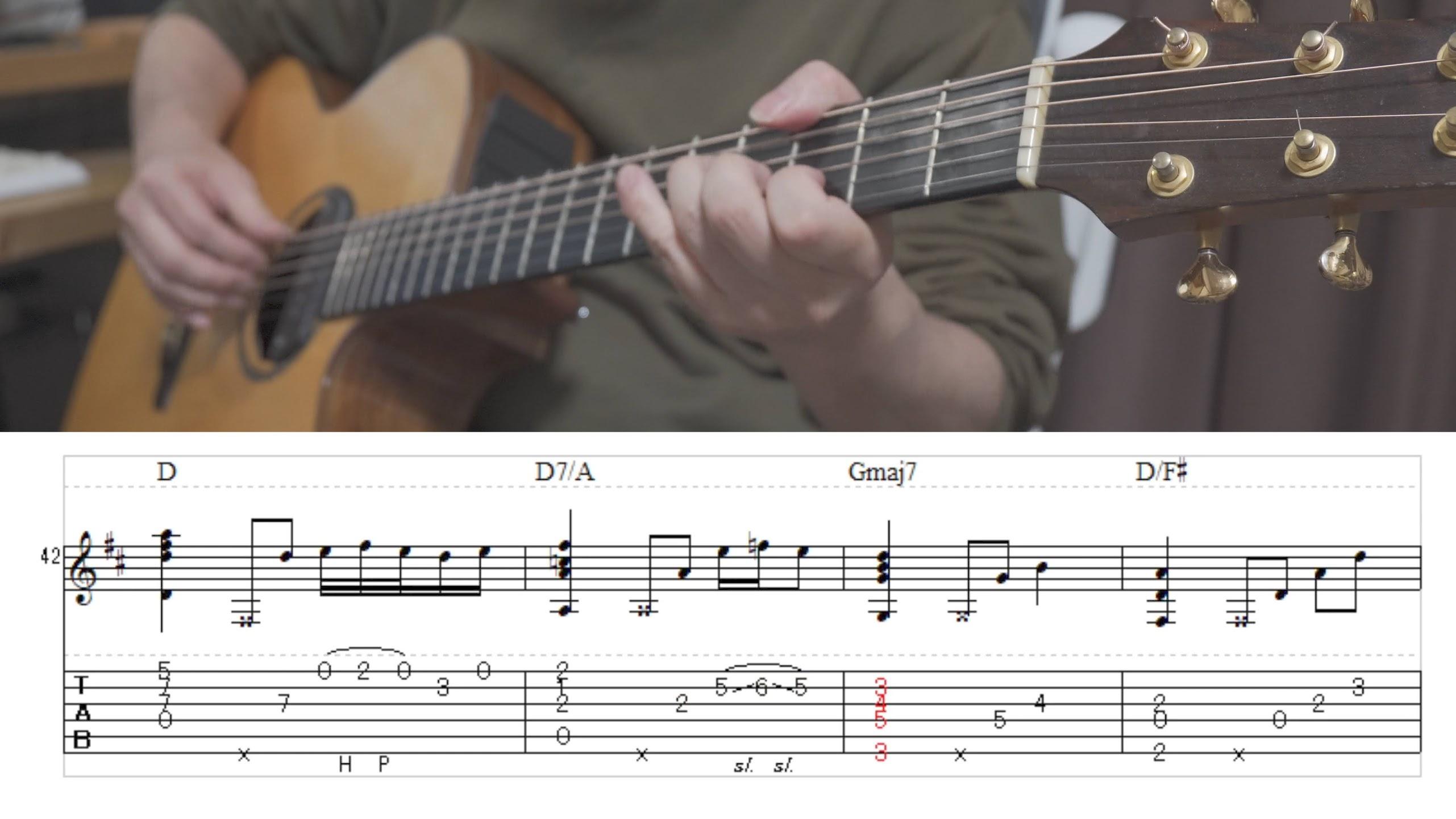 【Solo guitar】Amazing Grace アメイジング・グレイス【Tablature】【TAB譜】【ソロギター】(動画)